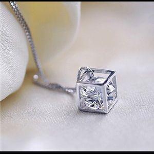 Jewelry - Crystal diamond cube necklace